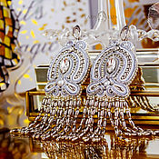 Украшения handmade. Livemaster - original item Margo`s soutache earrings. Color Silver ice. Silver long.. Handmade.