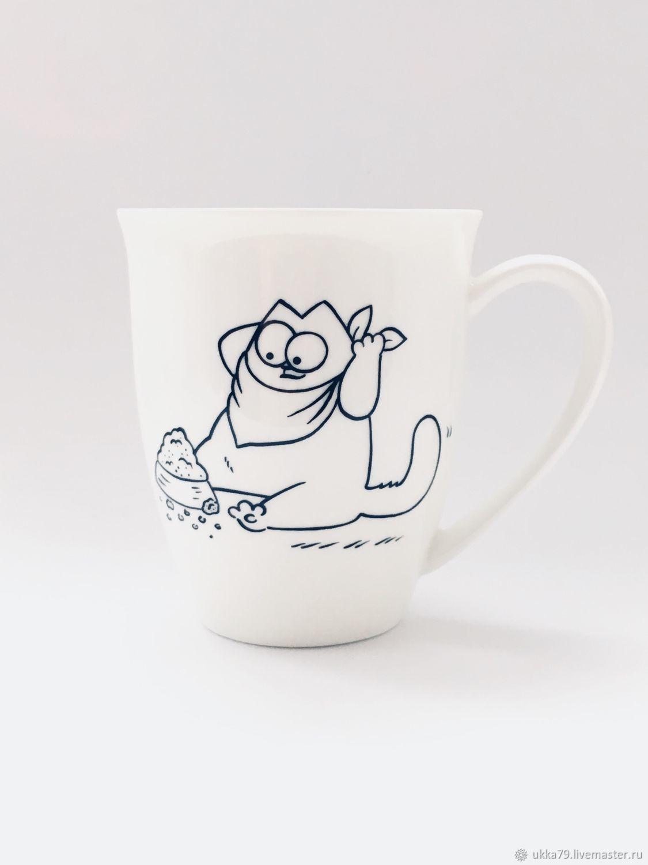 """Кружки и чашки ручной работы. Ярмарка Мастеров - ручная работа. Купить Кружка """"Кот Саймона. Завтрак"""" (посуда, фарфор). Handmade."""
