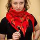 """Шарфы и шарфики ручной работы. Ярмарка Мастеров - ручная работа. Купить """"Пламенный"""" бактус. Handmade. Ярко-красный, шарф женский"""
