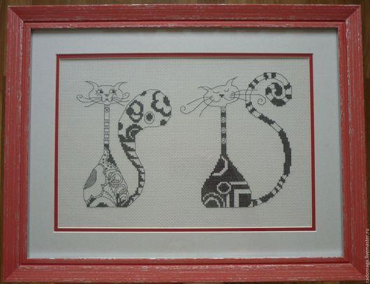"""Животные ручной работы. Ярмарка Мастеров - ручная работа. Купить Вышитая картина """"Два котэ"""". Handmade. Вышивка, подарок, серый"""