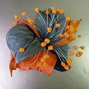 Украшения handmade. Livemaster - original item Hair clip machine hair flower leather