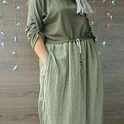 Одежда ручной работы. Ярмарка Мастеров - ручная работа Платье с шарфиком. Handmade.