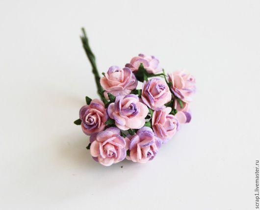 Открытки и скрапбукинг ручной работы. Ярмарка Мастеров - ручная работа. Купить Розы 1 см. Розовый + сиреневый. 10 шт.!. Handmade.