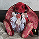 Мишки Тедди ручной работы. Ярмарка Мастеров - ручная работа. Купить Фауст - коллекционный плюшевый заяц. Handmade. Бордовый, бисер