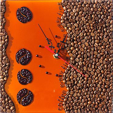 """Для дома и интерьера ручной работы. Ярмарка Мастеров - ручная работа Часики кофейные """"Coffee every time"""". Handmade."""