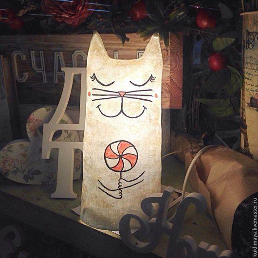 """Освещение ручной работы. Ярмарка Мастеров - ручная работа. Купить Светильник """"Кот"""". Handmade. Белый, для дома и интерьера, ночник в детскую"""