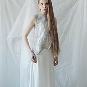 Одежда handmade. Livemaster - original item White and silver floor-length dress from the collection CityDzen. Handmade.