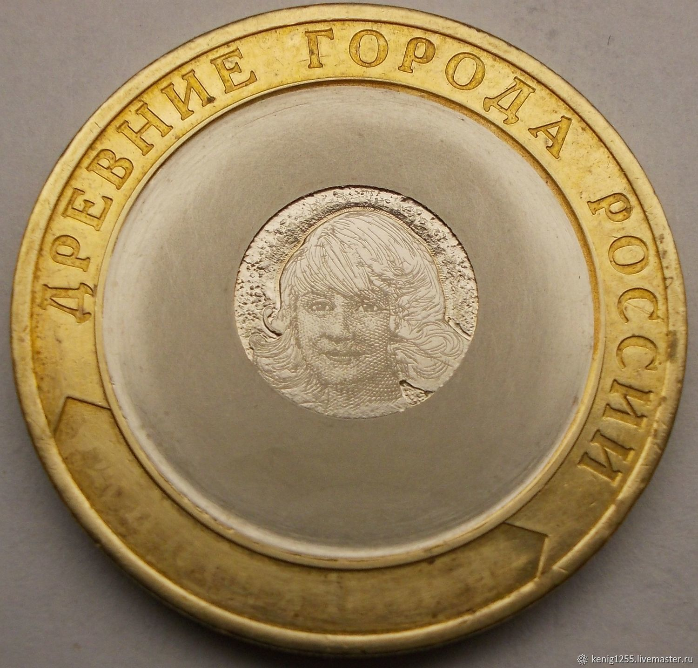 10 rubles, engraved coins custom, portrait of a girl, Souvenir coins, Kaliningrad,  Фото №1