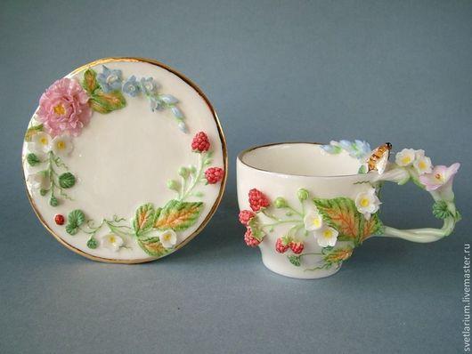 Сервизы, чайные пары ручной работы. Ярмарка Мастеров - ручная работа. Купить Чайная пара Большая Нежность. Handmade. пион