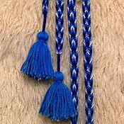 Русский стиль ручной работы. Ярмарка Мастеров - ручная работа Пояс-дёрганец сине-голубой. Handmade.