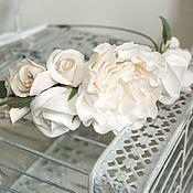 handmade. Livemaster - original item A wreath for the bride, for the hair Gentle, polymer clay.. Handmade.