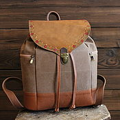 handmade. Livemaster - original item Boho-style leather and canvas backpack Summer day red-sand. Handmade.