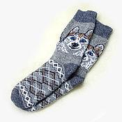 Аксессуары ручной работы. Ярмарка Мастеров - ручная работа Шерстяные носки с собакой. Handmade.