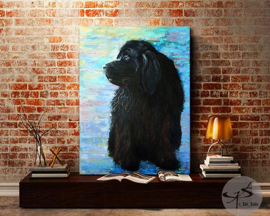 """Животные ручной работы. Ярмарка Мастеров - ручная работа. Купить Картина """"Собака- водолаз"""" (Ньюфаундленд). Handmade. Картина маслом"""