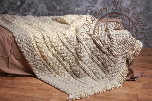 Текстиль, ковры ручной работы. Ярмарка Мастеров - ручная работа. Купить Плед VINTAGE, шерсть мериноса. Handmade. Комбинированный, шерсть