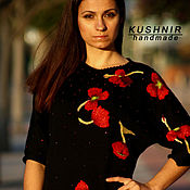Одежда handmade. Livemaster - original item Knitted black dress with beading