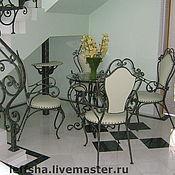 Для дома и интерьера ручной работы. Ярмарка Мастеров - ручная работа Кованый стул со спинкой обтянутый кожей. Handmade.