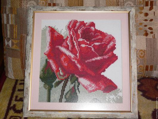 Картины цветов ручной работы. Ярмарка Мастеров - ручная работа. Купить Роза. Handmade. Ярко-красный, зеленый цвет, роза