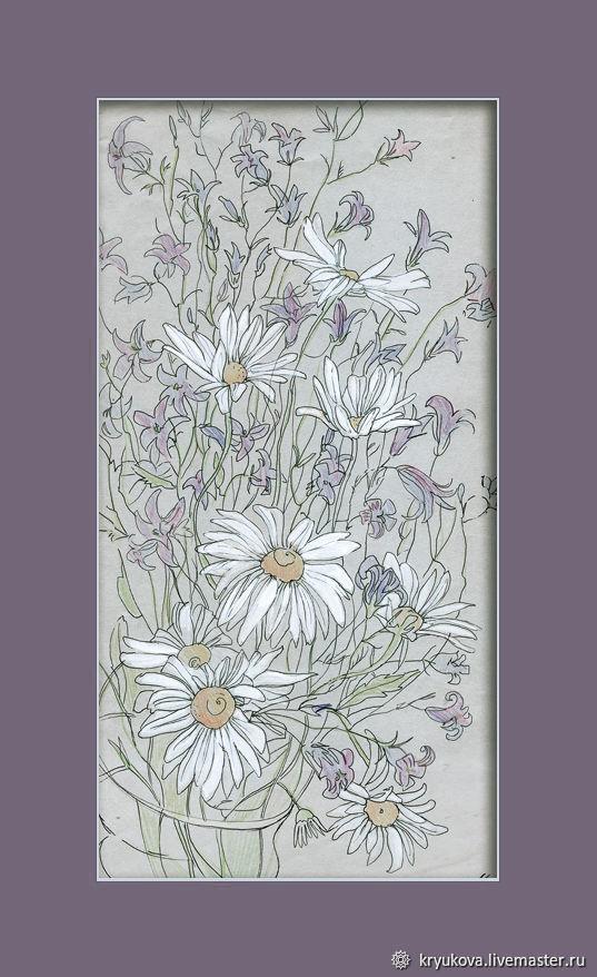 «Полевой букет» Картина рисунок цветы ромашки, Картины, Москва,  Фото №1