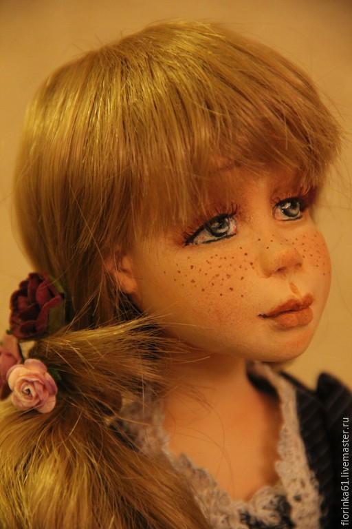 Коллекционные куклы ручной работы. Ярмарка Мастеров - ручная работа. Купить ЛИЗОНЬКА. Handmade. Тёмно-синий, подарок женщине