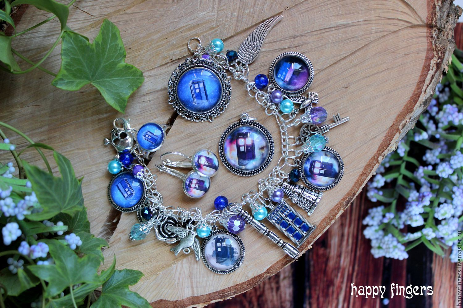 Doctor who jewelry set TARDIS blue doctor who, Jewelry Sets, Elektrostal,  Фото №1