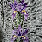 """Одежда ручной работы. Ярмарка Мастеров - ручная работа Кофта вязаная с вышивкой """"Ирисы"""".. Handmade."""