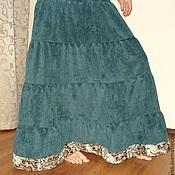 Одежда ручной работы. Ярмарка Мастеров - ручная работа Юбка теплая длинная вельветовая Малахит. Handmade.