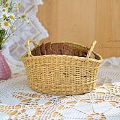 Для дома и интерьера ручной работы. Ярмарка Мастеров - ручная работа Плетеная корзинка для подачи и хранения хлеба. Handmade.