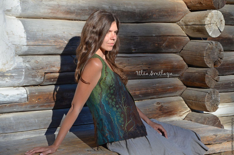 Designer Julia Bright, buy felted vest, woodland vest, green vest, shades of forests, forest lake