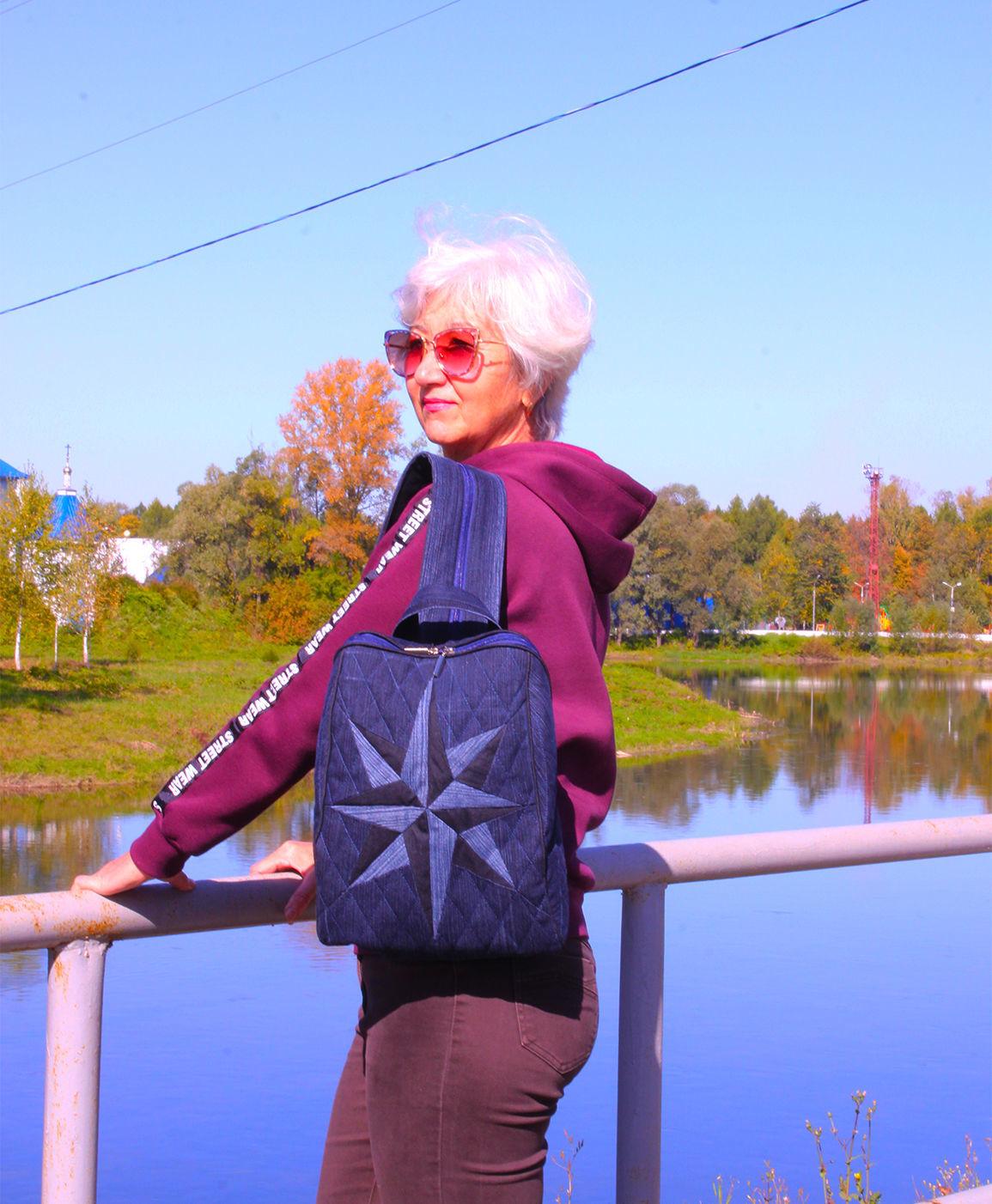 Джинсовый рюкзак Клематис 11, Рюкзаки, Аша, Фото №1