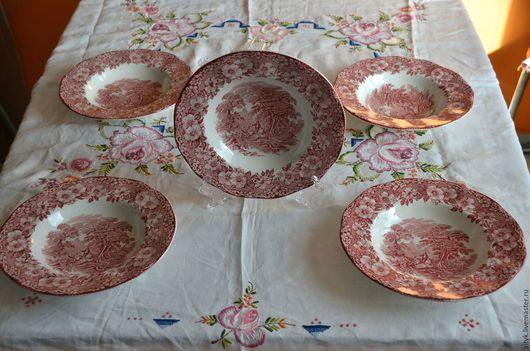 Винтажная посуда. Ярмарка Мастеров - ручная работа. Купить Пять глубоких тарелок Wedgwood, Англия. Handmade. Ярко-красный, тарелочка