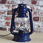 Для дома и интерьера handmade. Livemaster - original item Kerosene lamp electric table retro loft style blue. Handmade.