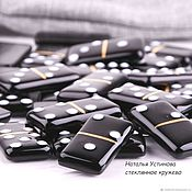Сувениры и подарки handmade. Livemaster - original item Dominoes - Board game glass - black, fusing. Handmade.