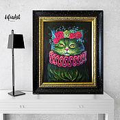 Картины и панно handmade. Livemaster - original item Picture with a cat