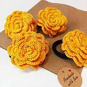 Работы для детей, handmade. Livemaster - original item Hair clips and hair bands: Jewelry Elastic band for hair yellow rose. Handmade.