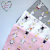 handmade. Livemaster - original item Fabrics Satin China in Moscow Cotton Zayki. Handmade.