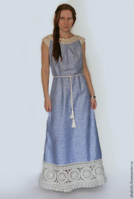 Льняные платья ручной работы, летнее платье в бохо стиле, платье с кружевом,  платье в пол, автор Юлия Льняная сказка