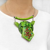 Украшения handmade. Livemaster - original item Green dragonfly pendant (polymer clay and glass). Handmade.