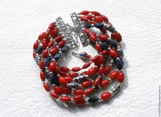 """Браслеты ручной работы. Ярмарка Мастеров - ручная работа. Купить браслет """" Albertina """". Handmade. Ярко-красный, лазурит"""