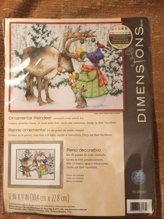 Вышивка ручной работы. Ярмарка Мастеров - ручная работа. Купить Dimensions 70-08947 Ornamental Reindeer. Handmade. Салатовый