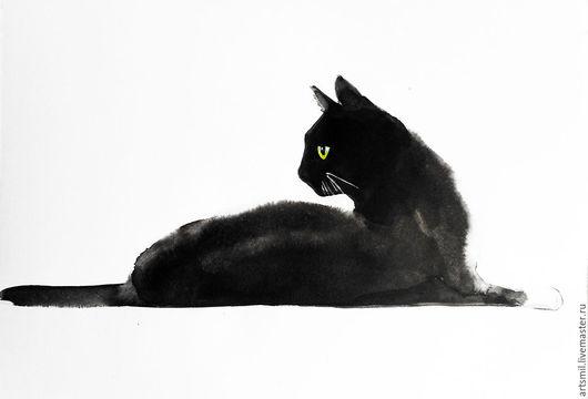 Животные ручной работы. Ярмарка Мастеров - ручная работа. Купить Кошка. Живопись тушью. Картина ручной работы.. Handmade. Черный
