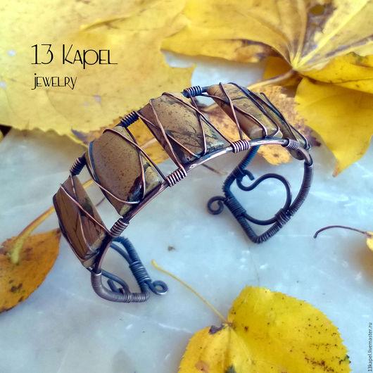 """Браслеты ручной работы. Ярмарка Мастеров - ручная работа. Купить Браслет  """"Осенний лес"""" с яшмой. Handmade. Бежевый, лес"""
