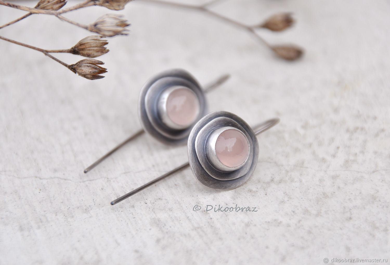 Dusty rose earrings (925 silver, chalcedony), Earrings, Moscow,  Фото №1