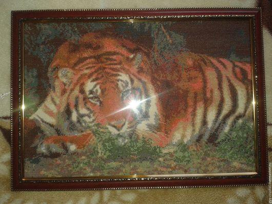 Животные ручной работы. Ярмарка Мастеров - ручная работа. Купить Тигр. Handmade. Тёмно-зелёный, Нити для вышивания