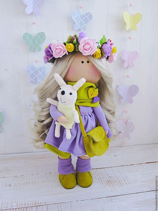 Куклы тыквоголовки ручной работы. Ярмарка Мастеров - ручная работа. Купить Куколка в веночке. Handmade. Сиреневый, куклы, тыквоголовка, веночек