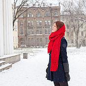 Аксессуары handmade. Livemaster - original item Red scarf with tassels. Handmade.