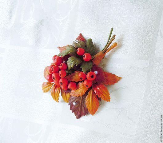 Брошь из кожи, украшение из кожи, Осенние листья из кожи, кожаная брошь,  осенняя брошь, осенние украшения, украшения в осеннем стиле, рябина из кожи, рябина брошь, брошь рябина, подарок учителю