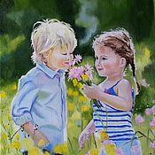 """Картины и панно ручной работы. Ярмарка Мастеров - ручная работа Картина маслом  дети  """" Цветы жизни"""".. Handmade."""