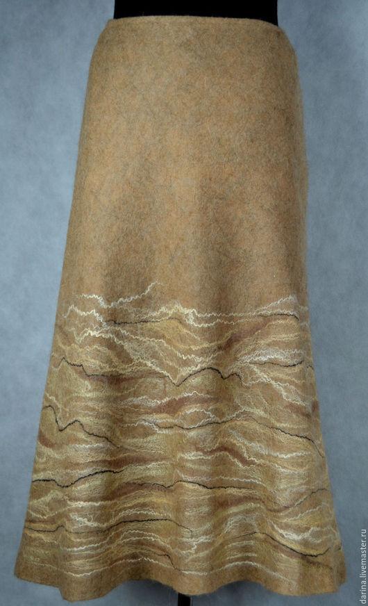 """Юбки ручной работы. Ярмарка Мастеров - ручная работа. Купить юбка валяная """"Зимние миражи"""". Handmade. Бежевый, длинная юбка"""