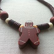 "Украшения handmade. Livemaster - original item Wooden necklace ""Gingerbread man"". Handmade."